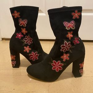 Black Suede Bootie with embroidery, size 7.5